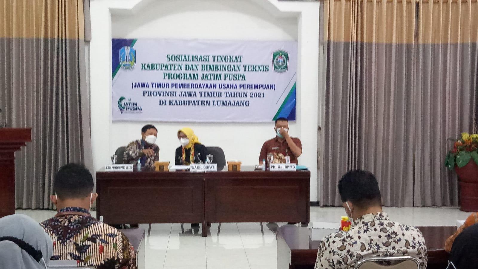 Sosialisasi Tingkat Kabupaten dan Bimbingan Teknis Program Jatim Puspa(Jawa Timur  Pemberdayaan Usaha Perempuan) Provinsi Jawa Timur TA 2021