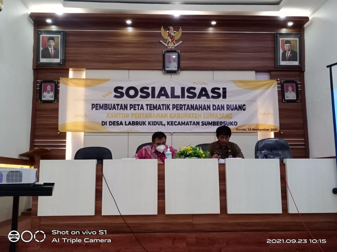 Sosialisasi Pemetaan Tematik Pertanahan dan Ruang Tahun 2021  di Desa Labruk Kidul Kecamatan Sumbersuko Kabupaten Lumajang
